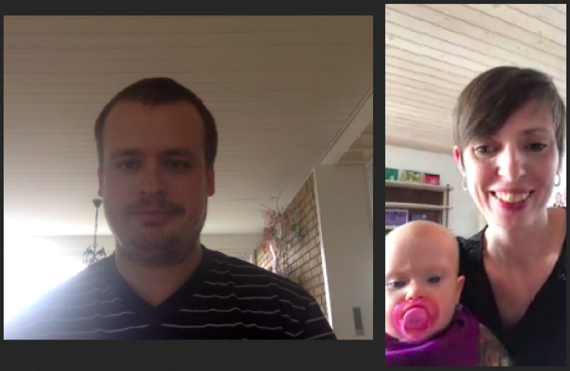 Christoffer, Lotte and Ellie, captured in midthought during our Skype interview