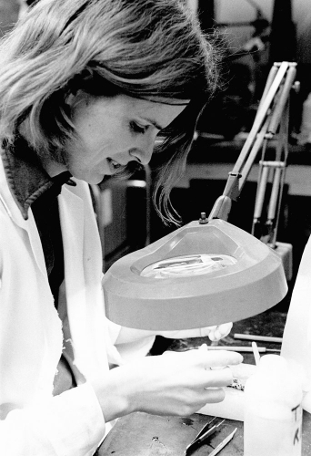 Dr. Dawson in her lab (undated)