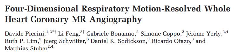 Four-Dimensional Respiratory Motion-Resolved Whole Heart Coronary MR Angiography